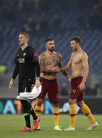 Football Soccer: UEFA Champions League  AS Roma vs PFC CSKA Mosca Stadio Olimpico Rome, Italy, October 23, 2018. <br /> Roma's Edin Dzeko (r) Aleksandar Kolarov (c) and Robin Olsen (l) celebrate after winning 3-0 the Uefa Champions League football soccer match between AS Roma and PFC CSKA Mosca at Rome's Olympic stadium, October 23, 2018.<br /> UPDATE IMAGES PRESS/Isabella Bonotto