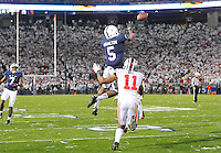 25 October 2014:  Penn State WR DaeSean Hamilton (5) catches a pass above Ohio State S Vonn Bell (11) at the one yard line during the first overtime to set up Penn State's touchdown. The Ohio State Buckeyes defeated the Penn State Nittany Lions 31-24 in 2 OTs at Beaver Stadium in State College, PA.