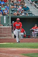 Johan Sala (27) of the Orem Owlz comes up to bat against the Idaho Falls Chukars at Melaleuca Field on July 14, 2019 in Idaho Falls, Idaho. The Owlz defeated the Chukars 6-2. (Stephen Smith/Four Seam Images)