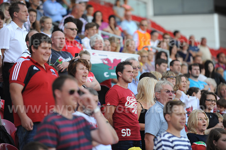 The Wales supporters. The UEFA Womens U19 Championships at Parc y Scarlets, Monday 19th August 2013. All images are the copyright of Jeff Thomas Photography-www.jaypics.photoshelter.com-07837 386244-Any use of images must be authorised by the copyright owner.