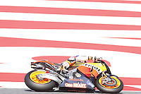 2.06.2012 Barcelona, Spain. Gran Prix Aperon de Catalunya. Free Practice Casey Stoner AUS riding Honda Repsol Honda team at Circuit de Catalunta