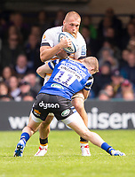 Wasps' Brad Shields is tackled by Bath Rugby's Ruaridh McConnochie<br /> <br /> Photographer Bob Bradford/CameraSport<br /> <br /> Premiership Rugby Cup - Bath Rugby v Wasps - Sunday 5th May 2019 - The Recreation Ground - Bath<br /> <br /> World Copyright © 2018 CameraSport. All rights reserved. 43 Linden Ave. Countesthorpe. Leicester. England. LE8 5PG - Tel: +44 (0) 116 277 4147 - admin@camerasport.com - www.camerasport.com