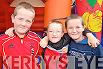 FUN AND GAMES: Conor McCrohan, Adam O'Leary and Luke McCrohan enjoying the official opening of the new Ballyheigue Family Resource Centre last Friday.