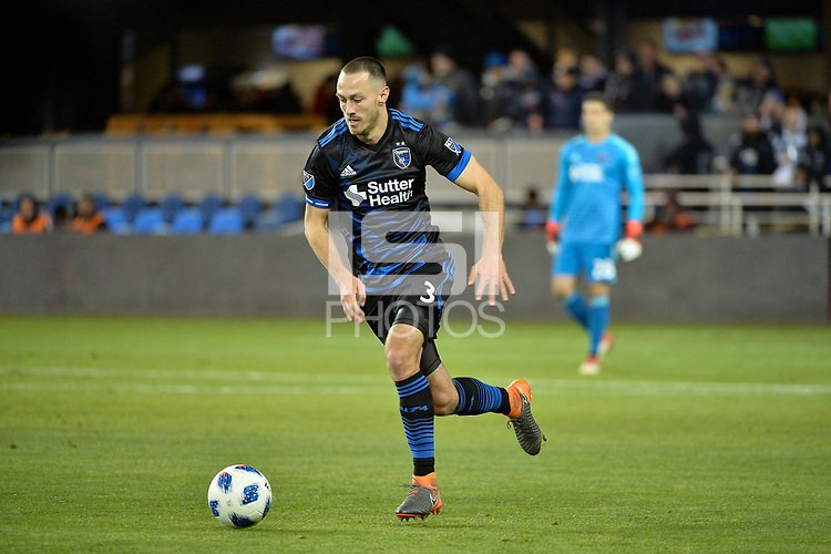 San Jose, CA - Saturday March 24, 2018: Francois Affolter during an international friendly between the San Jose Earthquakes and Club Leon FC at Avaya Stadium.