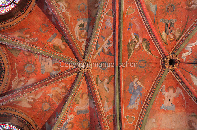 Frescoes of 47 angels, each playing a different medieval or oriental musical instrument or holding musical scores or liturgical Gregorian chant songbooks, 1380, attributed to Jan de Bruges, on the vaulted ceiling of the Chapelle de la Vierge or Chapel of the Virgin, in the Cathedrale Saint-Julien du Mans or Cathedral of St Julian of Le Mans, Le Mans, Sarthe, Loire, France. The frescoes were restored in the late 20th century. The cathedral was built from the 6th to the 14th centuries, with both Romanesque and High Gothic elements. It is dedicated to St Julian of Le Mans, the city's first bishop, who established Christianity in the area in the 4th century AD. Picture by Manuel Cohen