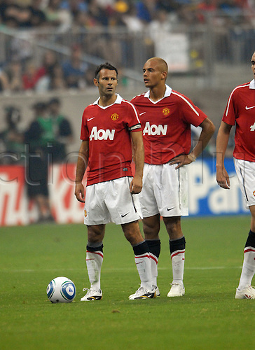 July 28 2010: Manchester United's Ryan Giggs(left) and Gabriel Obertan during 5 - 2 win over the MLS All Stars at Reliant Stadium in Houston, TX.