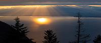Sunset over Lac Leman, Lake Geneva, France