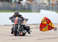 May 20, 2017; Topeka, KS, USA; NHRA top fuel nitro Harley Davidson rider Rickey House during qualifying for the Heartland Nationals at Heartland Park Topeka. Mandatory Credit: Mark J. Rebilas-USA TODAY Sports