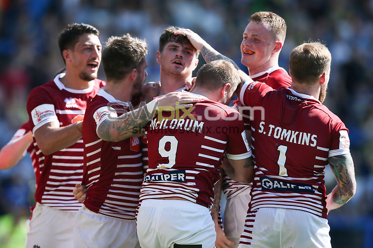 Picture by Paul Currie/SWpix.com - 17/06/2017 - Rugby League - Betfred Super League - Warrington Wolves v Wigan Warriors -  Halliwell Jones Stadium, Warrington, England - John Bateman of Wigan Warriors celebrates scoring the 4th try