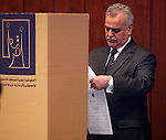 BAGHDAD, IRAQ:  Tariq Al-Hashimi, Vice President of Iraq, votes in Baghdad...On March 7th, 2010, Iraq held nationwide parliamentary elections.