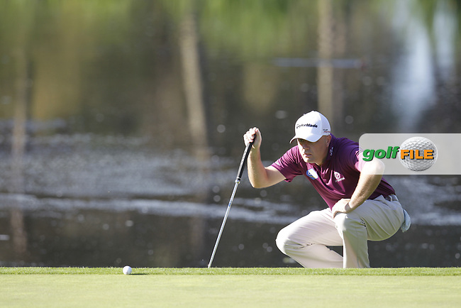 Graeme Storm (ENG) lines up his putt on the 4th green during Thursday's Round 1 of the 2014 Open de Espana held at the PGA Catalunya Resort, Girona, Spain. Wednesday 15th May 2014.<br /> Picture: Eoin Clarke www.golffile.ie