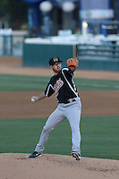 Reed Garrett (12) of the High Desert Mavericks pitches during a game against the Rancho Cucamonga Quakes at LoanMart Field on August 3, 2015 in Rancho Cucamonga, California. Rancho Cucamonga defeated High Desert, 2-1. (Larry Goren/Four Seam Images)