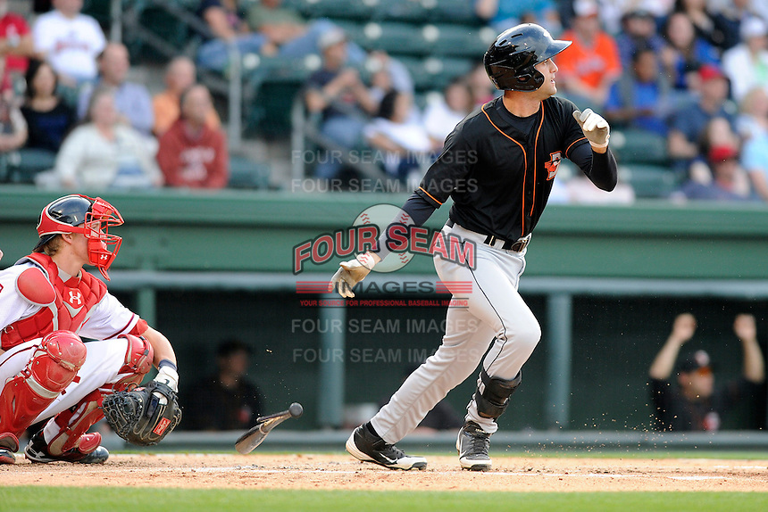 Infielder Nik Balog (18) of the Delmarva Shorebirds bats in a game against the Greenville Drive on Friday, April 26, 2013, at Fluor Field at the West End in Greenville, South Carolina. Delmarva won, 10-3. (Tom Priddy/Four Seam Images)
