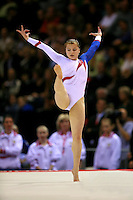 Oct 18, 2006; Aarhus, Denmark; Anna Pavlova of Russia performs on floor exercise during women's gymnastics team final at 2006 World Championships Artistic Gymnastics.