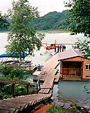USA, Alaska, cabins and a float plane by the dock at the Redoubt Bay Lodge in Redoubt Bay
