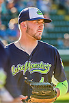 1 September 2014: Vermont Lake Monsters outfielder J.P. Sportman awaits the start of play against the Tri-City ValleyCats at Centennial Field in Burlington, Vermont. The ValleyCats defeated the Lake Monsters 3-2 in NY Penn League action. Mandatory Credit: Ed Wolfstein Photo *** RAW Image File Available ****