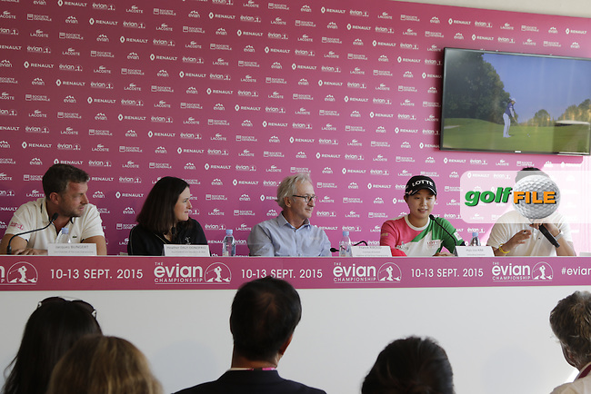 The opening press conference during Wednesday's Pro-Am of the LPGA 2015 Evian Championship, Evian les Bains, France. 09/09/2015.<br /> Picture Eoin Clarke | Golffile