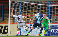 Scott Rendall of Aldershot Town manages to stop Dayle Southwell of Wycombe Wanderers scoring during the pre season friendly match between Aldershot Town and Wycombe Wanderers at the EBB Stadium, Aldershot, England on 22 July 2017. Photo by Andy Rowland.