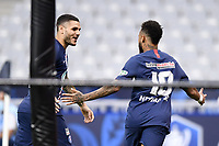 24th July 2020, Stade de France, Paris, France; French football Cup Final, Paris Saint Germain versus  St Ertienne;  10 NEYMAR JR (PSG) celebrates scoring his goal in the 14th minute for 1-0 with LEANDRO PAREDES (PSG)