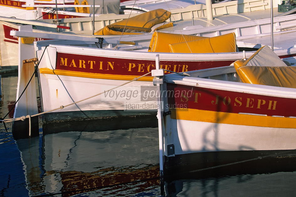 Europe/Provence-Alpes-Côte d'Azur/83/Var/Ile d'Hyères/Ile de Porquerolles: Détail des pointus sur le port