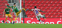 Preston North End's Alan Browne blocks this shot from Stoke City's Oghenekaro Etebo<br /> <br /> Photographer Stephen White/CameraSport<br /> <br /> The EFL Sky Bet Championship - Stoke City v Preston North End - Saturday 26th January 2019 - bet365 Stadium - Stoke-on-Trent<br /> <br /> World Copyright © 2019 CameraSport. All rights reserved. 43 Linden Ave. Countesthorpe. Leicester. England. LE8 5PG - Tel: +44 (0) 116 277 4147 - admin@camerasport.com - www.camerasport.com