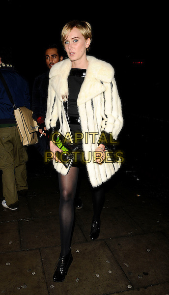 KIMBERLY STEWART.The Agent Provocateur Pirate Extravaganza party, Koko, Camden Town, London, England..November 13th, 2008.full length black dress white fur coat jacket kimberley ankle shoe boots clutch bag .CAP/CAN.©Can Nguyen/Capital Pictures.