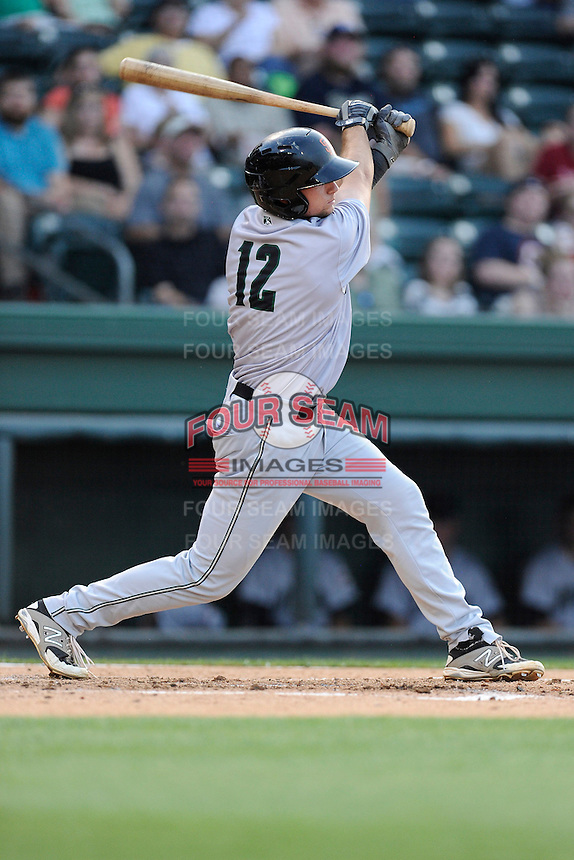 Designated hitter Ryan Tuntland (12) of the Augusta GreenJackets in a game against the Greenville Drive on Thursday, May 22, 2014, at Fluor Field at the West End in Greenville, South Carolina. Greenville won, 7-2. (Tom Priddy/Four Seam Images)