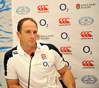 London, England. Mike Catt, one of the England rugby coaches, talks to the media at a press conference to announce the England rugby squad for the QBE Internationals on October 25, 2012 in London, England.
