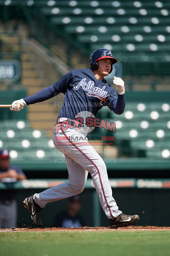 Atlanta Braves Drew Lugbauer (51) at bat during an Instructional League game against the Baltimore Orioles on September 25, 2017 at Ed Smith Stadium in Sarasota, Florida.  (Mike Janes/Four Seam Images)