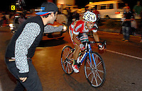 COLOMBIA. 16-08-2014. Jose Flober Peña ciclista durante la contrarreloj individual nocturna de 17.5 Km en la penúltima etapa de la Vuelta a Colombia 2014 en bicicleta que se cumple entre el 6 y el 17 de agosto de 2014. / Jose Flober Peña cyclist during the night individual time trial of 17.5 Km in the penultimate stage of the Tour of Colombia 2014 in bike holds between 6 and 17 of August 2014. Photo:  VizzorImage/ José Miguel Palencia / Str