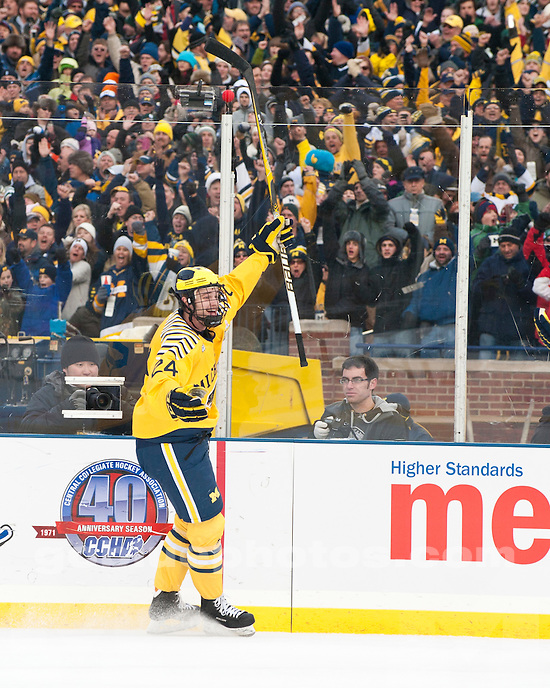 "University of Michigan men's ice hockey 5-0 victory over Michigan State University in the ""Big Chill at the Big House"" at Michigan Stadium in Ann Arbor, MI, on December 11, 2010.."