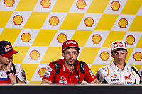 31st October 2019; Sepang Circuit, Sepang Malaysia; MotoGP Malaysia, Practice Day;  Andrea Dovizioso, Jack Miller, Danilo Petrucci during the press conference - Editorial Use