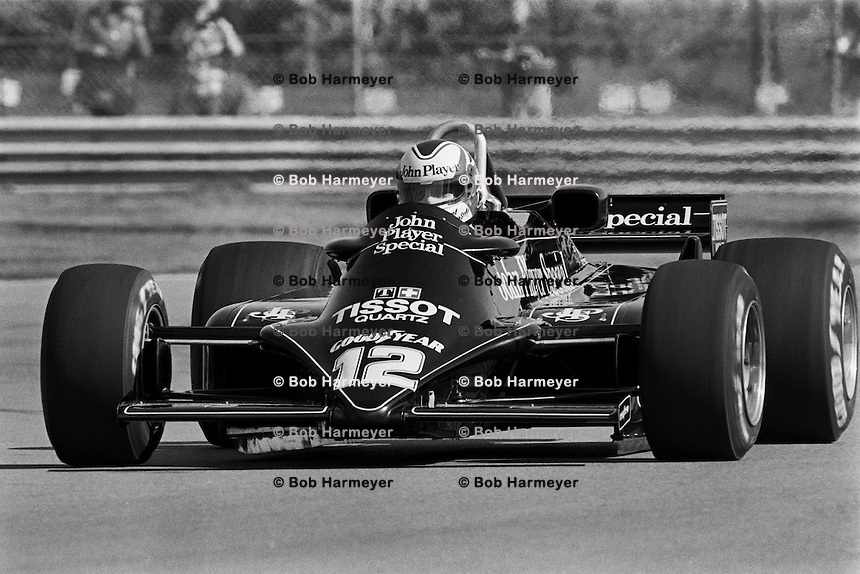 MONTREAL, CANADA - SEPTEMBER 27: Nigel Mansell drives the Lotus 87 R5/Ford Cosworth DFV during practice for the 1981 Canadian Grand Prix FIA Formula One World Championship race at the Circuit Île Notre-Dame temporary circuit in Montreal, Canada, on September 27, 1981.