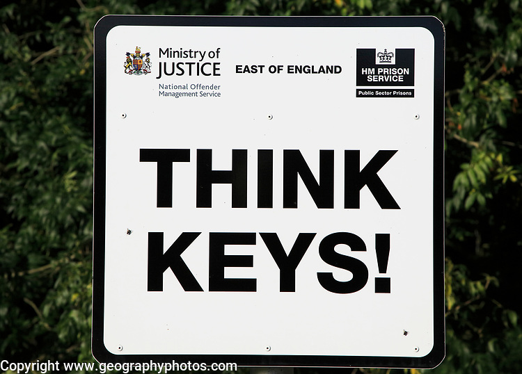 Think keys sign, HM Prison Hollesley Bay, Suffolk, England, UK