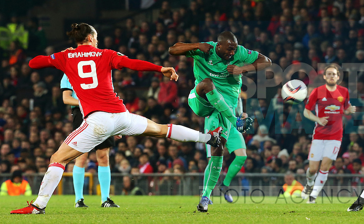 Zlatan Ibrahimovic of Manchester United makes a challenge during the UEFA Europa League Round of 32 1st leg match at Old Trafford Stadium, Manchester. Picture date: February 16th, 2017. Pic credit should read: Matt McNulty/Sportimage