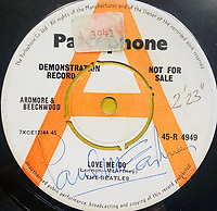 BNPS.co.uk (01202 558833)<br /> Pic: OmegaAuctions/BNPS<br /> <br /> PICTURED: The first ever played Beatles record has sold at auction for over £20,000 leading an £80,000 sale of music memorabilia amassed by a veteran radio DJ.<br /> <br /> Tony Prince worked for Radio Luxembourg which was the first to give air time to the Fab Four.<br /> <br /> On the evening of October 5, 1962, the pirate radio station broadcast their debut 7in single. <br /> <br /> It was the first time the people of the UK got to hear the ground-breaking music of The Beatles.