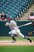 Akron RubberDucks third baseman Joe Sever (9) at bat during the second game of a doubleheader against the Bowie Baysox on June 5, 2016 at Prince George's Stadium in Bowie, Maryland.  Bowie defeated Akron 12-7.  (Mike Janes/Four Seam Images)