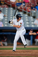 Connecticut Tigers left fielder Daniel Reyes (55) at bat during a game against the Lowell Spinners on August 26, 2018 at Dodd Stadium in Norwich, Connecticut.  Connecticut defeated Lowell 11-3.  (Mike Janes/Four Seam Images)