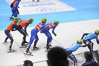 SHORTTRACK: DORDRECHT: Sportboulevard Dordrecht, 24-01-2015, ISU EK Shorttrack, Relay, Itzhak DE LAAT (NED | #50), Daan BREEUWSMA (NED | #49), Richard SHOEBRIDGE (GBR | #24), Paul STANLEY (GBR | #26), ©foto Martin de Jong