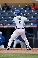 Max Miller (5) of the Duke Blue Devils at bat against the California Golden Bears at Durham Bulls Athletic Park on February 20, 2016 in Durham, North Carolina.  The Blue Devils defeated the Golden Bears 6-5 in 10 innings.  (Brian Westerholt/Four Seam Images)