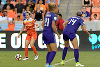Houston, TX - Saturday June 17, 2017: Kealia Ohai looks to pass the ball during a regular season National Women's Soccer League (NWSL) match between the Houston Dash and the Orlando Pride at BBVA Compass Stadium.