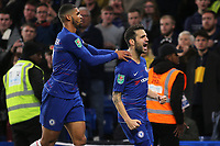 Cesc Fabregas celebrates scoring Chelsea's third goal with Ruben Loftus-Cheek during Chelsea vs Derby County, Caraboa Cup Football at Stamford Bridge on 31st October 2018
