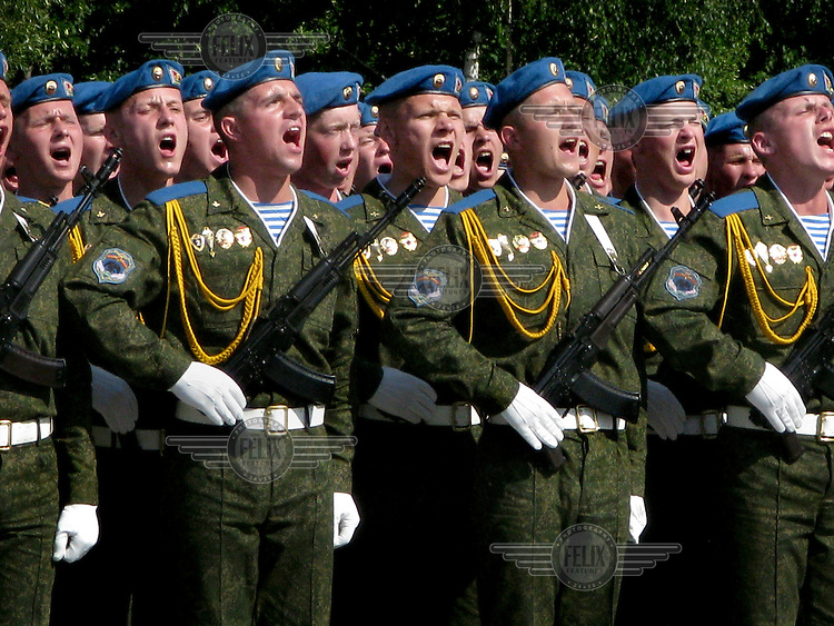 Soldiers march during parades on Independence Day, 03 July.