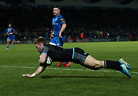 28th February 2020; RDS Arena, Dublin, Leinster, Ireland; Guinness Pro 14 Rugby, Leinster versus Glasgow; Kyle Steyn (Glasgow Warriors) dives over to score a try