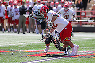 College Park, MD - April 8, 2017: Maryland Terrapins Jon Garino (12) tries to get the groundball during game between Penn State and Maryland at  Capital One Field at Maryland Stadium in College Park, MD.  (Photo by Elliott Brown/Media Images International)