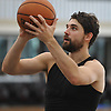 Joe Harris #12 of the Brooklyn Nets shoots a jumper during team practice held at the HSS Training Center in Brooklyn, NY on Tuesday, Sept. 25, 2018.