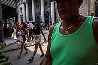 HAVANA, CUBA - SEPTEMBER 08: Cuban women walk through the streets of Old Havana on 8th of September, 2015 in Havana, Cuba. <br /> <br /> Daniel Berehulak for The New York Times