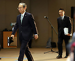 August 10, 2017, Tokyo, Japan - Japan's troubled electronics giant Toshiba president Satoshi Tsunakawa (L) and CFO Masayoshi Hirata enters a conference room to announce delayed financial result ended March at the company's headquarters in Tokyo on Thursday, August 10 2017. Toshiba said it has fallen into negative net worth of 553 billion yen and the auditor issued an adverse opinion on Toshiba's internal control.  (Photo by Yoshio Tsunoda/AFLO) LwX -ytd-