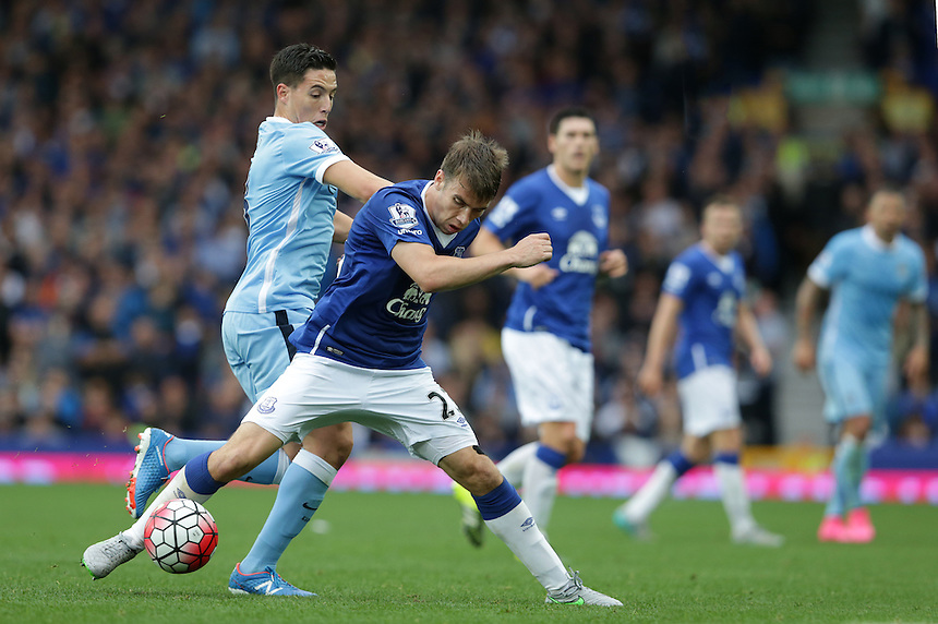 Manchester City's Samir Nasri and Everton's Seamus Coleman<br /> <br /> Photographer Stephen White/CameraSport<br /> <br /> Football - Barclays Premiership - Everton v Manchester City - Sunday 23rd August 2015 - Goodison Park - Liverpool<br /> <br /> &copy; CameraSport - 43 Linden Ave. Countesthorpe. Leicester. England. LE8 5PG - Tel: +44 (0) 116 277 4147 - admin@camerasport.com - www.camerasport.com