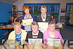 Graduates of the 'Log On, Learn Program' having received their certificates at the TY Graduation Evening in Cola?iste Na Sceilge on Thursday last, the presentation was made by their individual TY Student Tutors, front l-r; Mary Horgan, Anne Casey, Mary O'Connor, back l-r; Bride O'Shea & Mary Daly.
